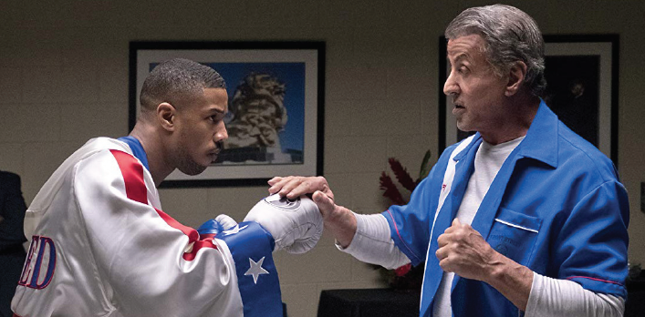"Michael Jordan, left, and Sylvester Stalone star in ""Creed II."""
