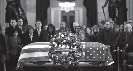 President George H.W. Bush lies in state in the Capitol rotunda in Washington on Dec. 6.