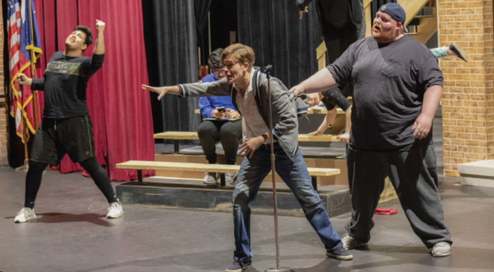 Andres Camacho, left, Ben Stegmair and Jimmy Jensen during rehearsal.