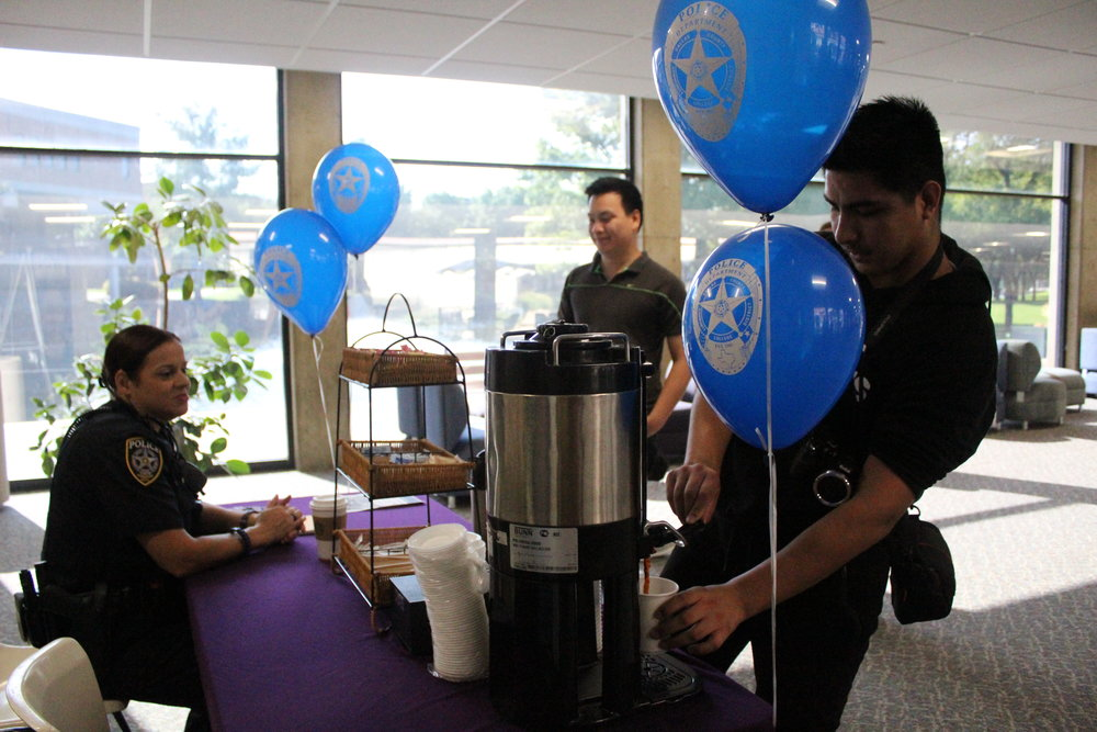 """Officer Jesica Lopez Invites Students to Join the Annual """"Coffee with A Cop"""" Event in El Paso Hall."""