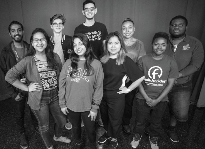 Student Government Association candidates: Sam Mathew, left, Kimberly Le, Avery Self, April Palomares, Hazem Alhattawi, Hannah Ngo, Makayla Logan, Avery Hall and Edward Sesay.