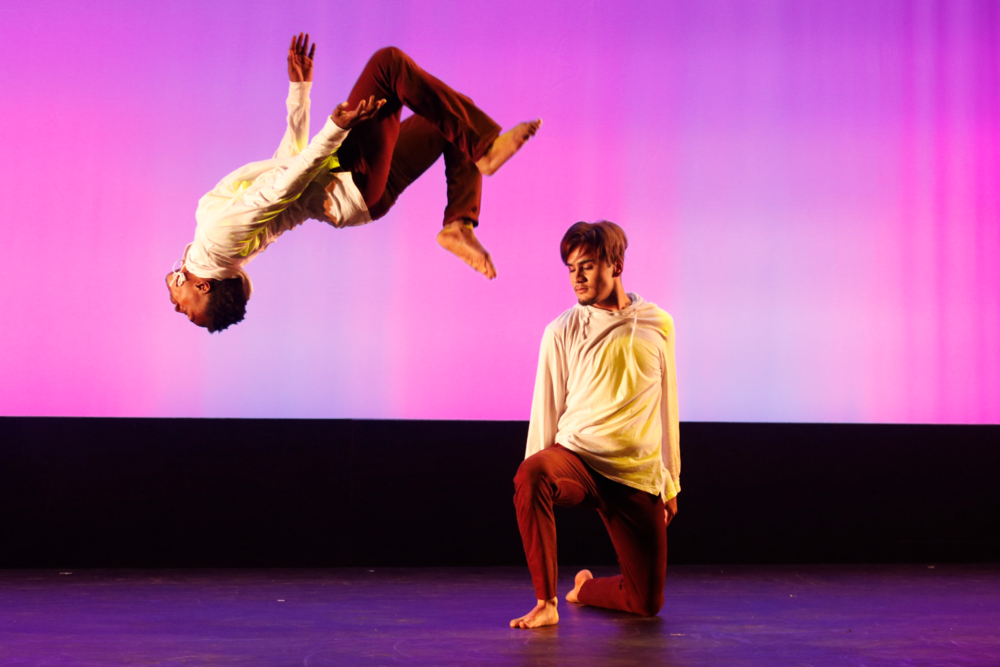 Richland Dancers Justin Akers and Guadalupe Cardosa perform a daring move at the 'Illumination' dance concert on April 5th.