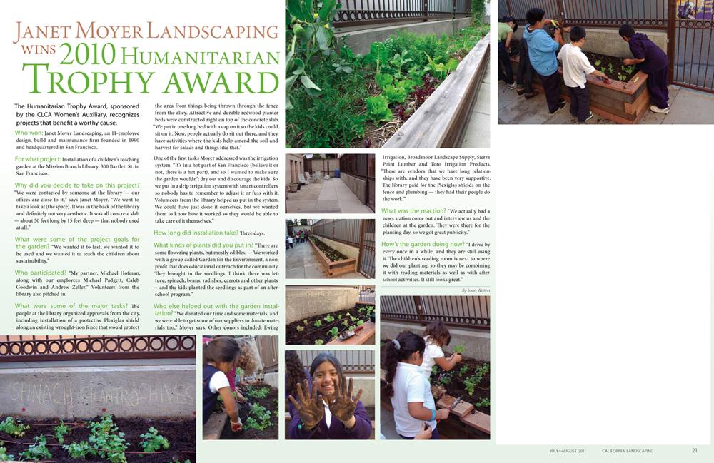 Janet Moyer Landscaping Wins 2010 Humanitarian Trophy Award - Janet Moyer Landscaping Wins 2010 Humanitarian Trophy Award — Janet