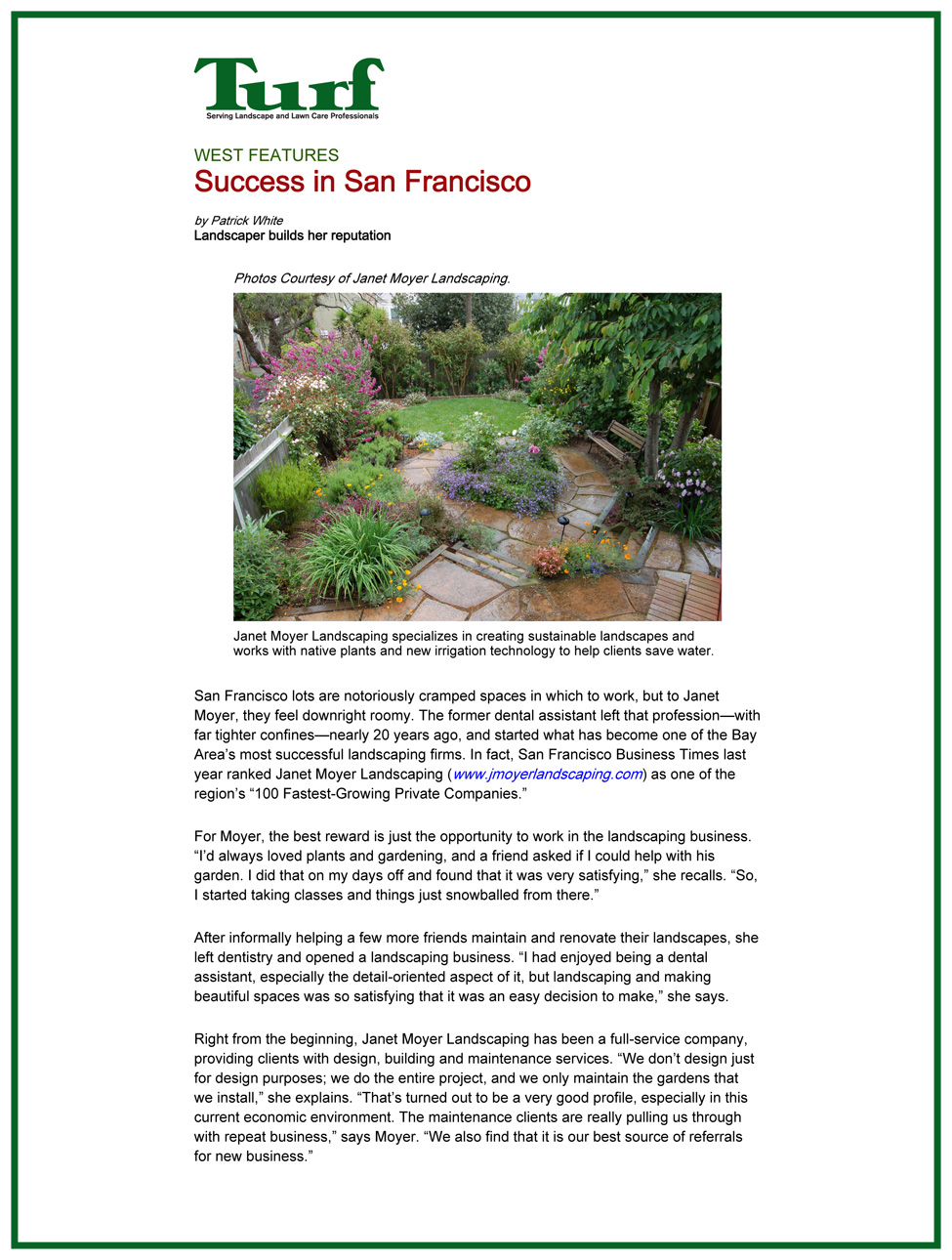 Success in San Francisco - Success In San Francisco — Janet Moyer Landscaping