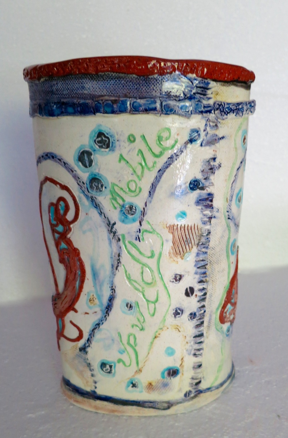 Upwardly Mobile, earthenware vase, front_1892.jpg