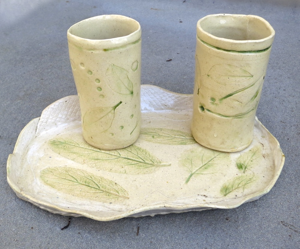 Leaf tray and tumblers