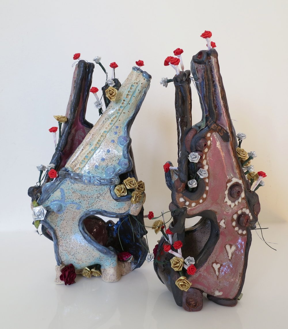 Bouquet, His and Hers, mixed media ceramic sculpture