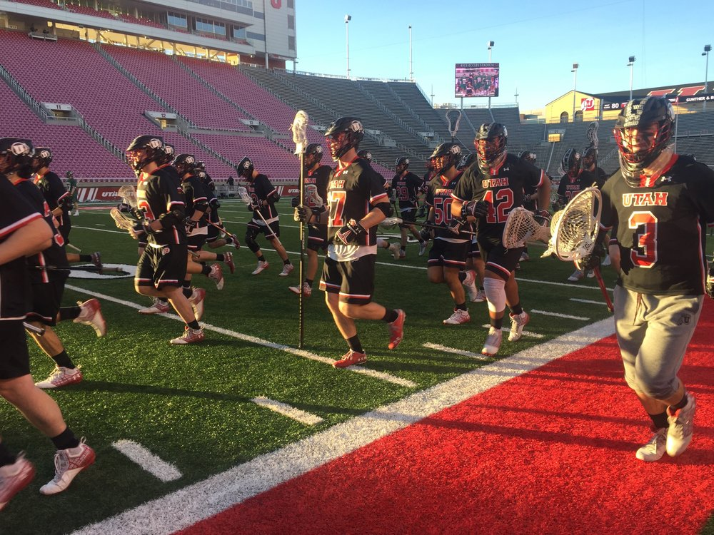The Utes warm-up prior to their first DI game