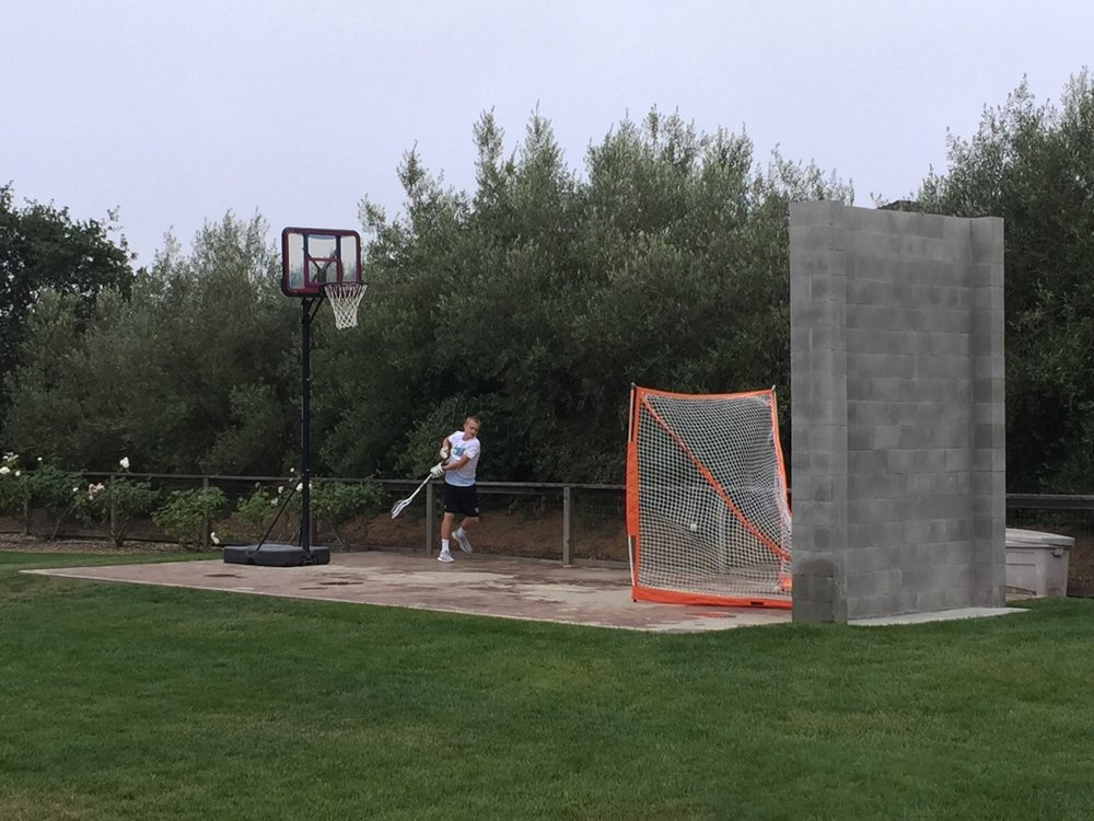 The Goller family's backyard wall where Jack has spent thousands of hours working on his game