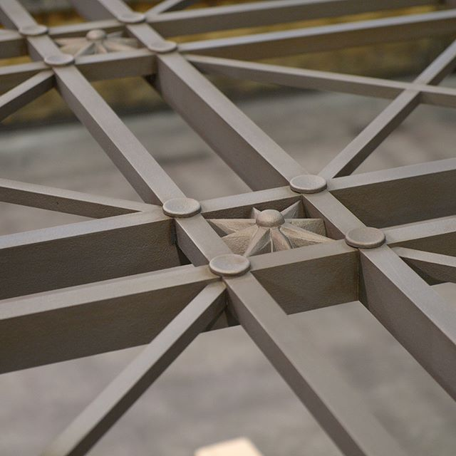 These large grilles, made for the Philadelphia Museum of Art, feature compass rose-like rosettes. The grilles are 10 feet by 11 or 15 feet, and made of cast bronze. They are installed on the building as window grilles. . #historicalartsandcasting #bronzecasting #finishing #bronzewindow #windowgrilles #customgrille #philadelphia #philadelphiamuseumofart