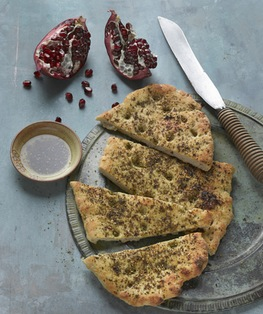"Gluten-free Za'atar flatbread from ""Gluten-Free Artisan Bread in Five Minutes a Day,"" a book that proved challenging to the authors."