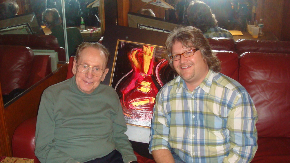 Les Paul and Rob Hendon backstage at the Iridium Jazz Club in Times Square. Les Paul contacted Rob because he wanted one of Rob's Les Paul paintings.