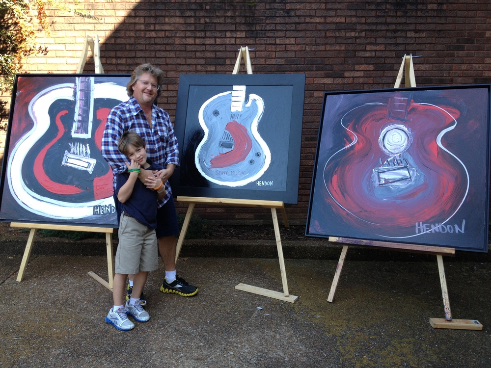 Rob and his son before delivering these 3 paintings to Sony Records Nashville