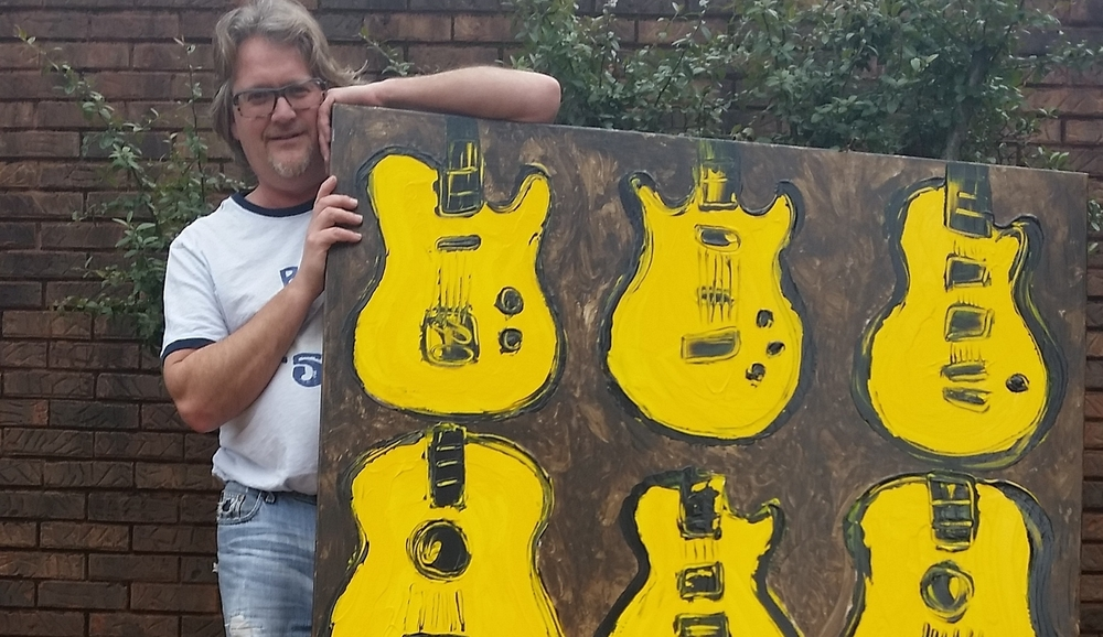 "Rob with his piece for the TV show ""Nashville"", modeled after 9 of his personal guitars. Now in the permanent collection at the Tennessee State Museum, 2017."
