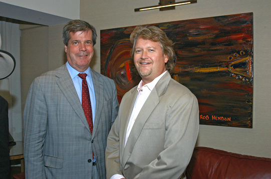 Nashville's former Mayor, Karl Dean, with Hendon's artwork at the Hutton Hotel