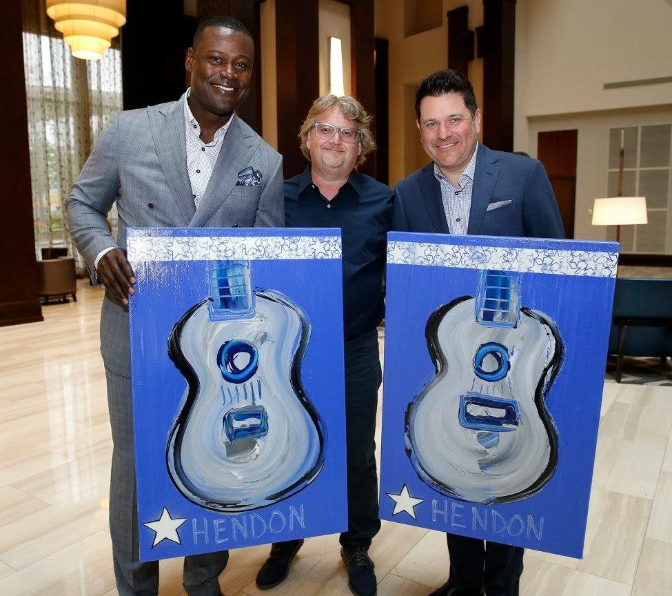 Left to Right: Kevin Carter (former collegiate and NFL defensive end), Rob Hendon and Jay DeMarcus (Rascal Flatts) raising money for Make-a-Wish Foundation, 2017.