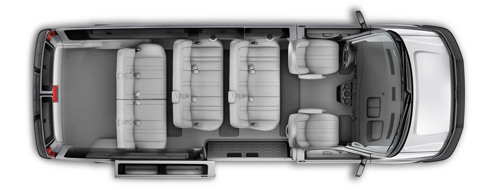 This is what the interior of the van looks like (this is not the actual van). All bench seats are removable based on your needs for passengers and storage.