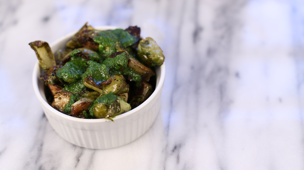 Curated Health Spinach Pesto brussels sprouts