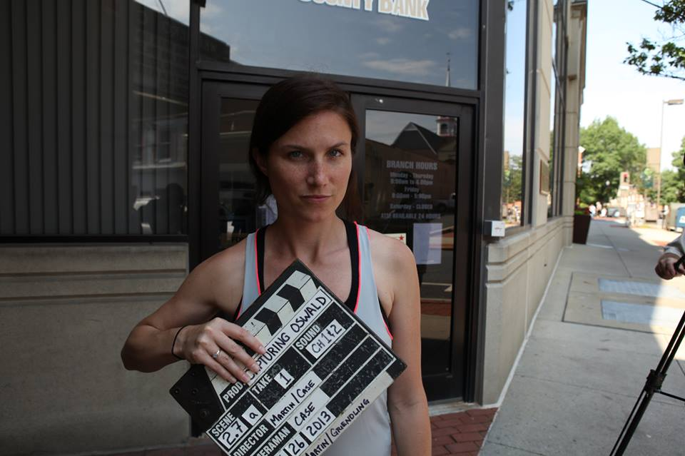 Kate Griendling on the set of  Capturing Oswald