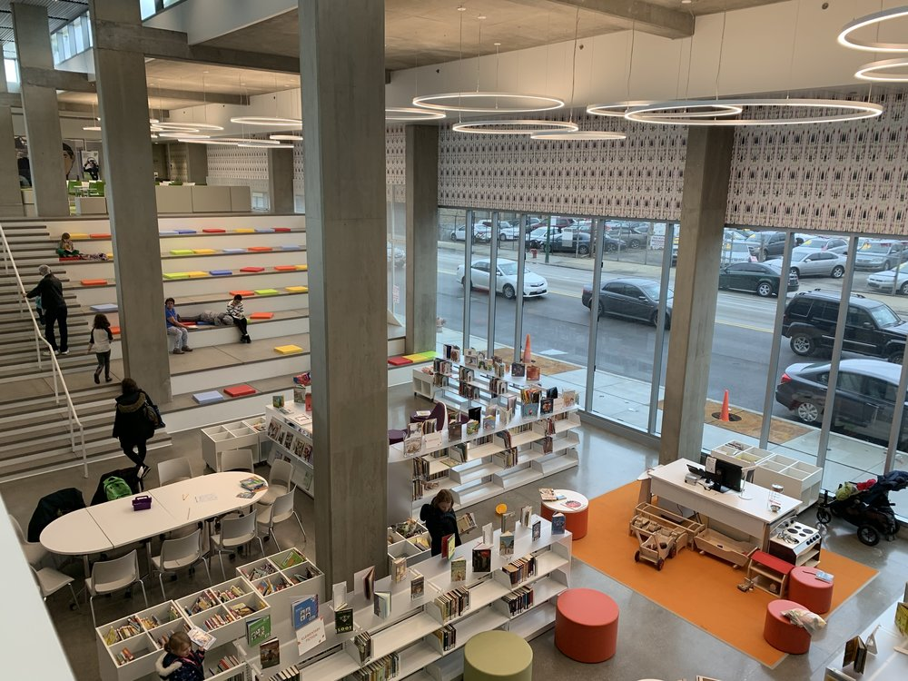 The New Independence Library's windows and stepped seating area are among the many reasons I love this contemporary Chicago Public Library. It's easy to get a lot of work done in this space since it feels both open and calm.