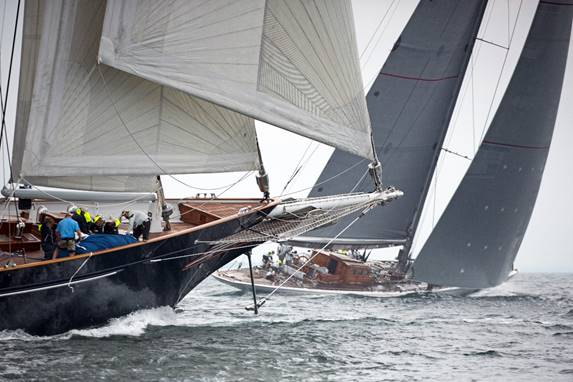 The 170-foot (52m) Royal Huisman schooner Meteor and the 138-foot (42m) J sloop Ranger were two of a dozen superyachts to compete in the 2016 Candy Store Cup. (photo credit: Billy Black)  Click photo to download this and other photos in high resolution