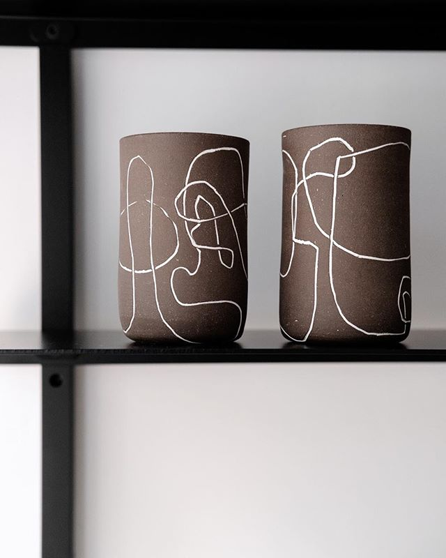 Each @workadayhandmade line cup is thrown on the wheel. Once the cups are leather-hard, the continuous white line is carved by the artist and then filled in with white slip - a technique called Mishima, dating back to 16th century Korea. Shop these one-of-kind cups online or visit our shop to pick out your favorite!
