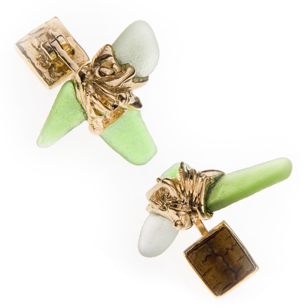 Sea Glass Gold Cufflings