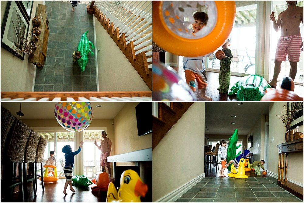 playing inside with inflatable toys