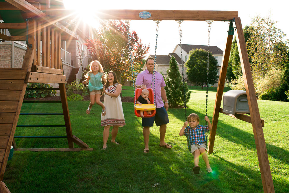 """When all three of you were little, many summer sunsets were spent on the swing set in the backyard."""