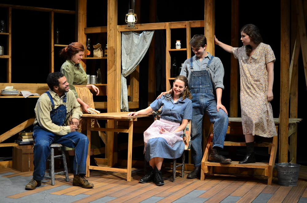 L to R:  James ( Carter Michael ), Mae ( Mary Bolt ), Sary ( Lucie Ledbetter ), Elliott ( Christian Probst ), Orlena ( Laurel Durning-Hammond ).