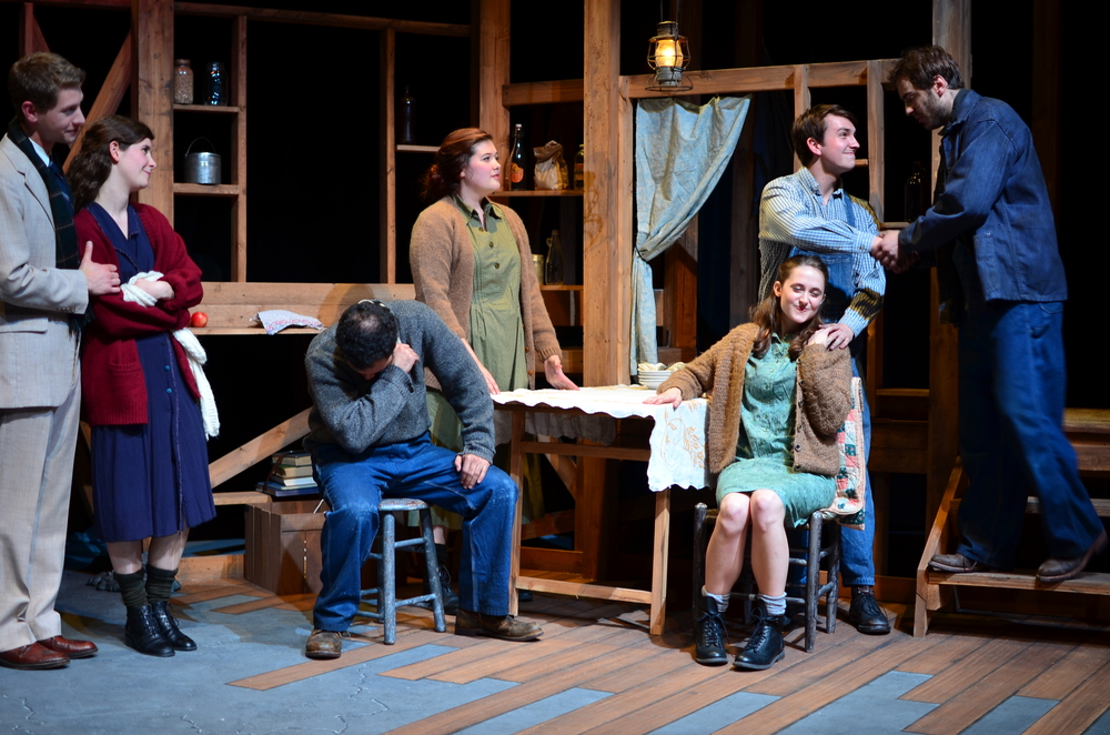 L to R : George ( Brandon Levin ), Orlena ( Laurel Durning-Hammond ), James ( Carter Michael ), Mae ( Mary Bolt ), Sary ( Lucie Ledbetter ), Elliott ( Christian Probst ), Ward ( Nathaniel Janis ).