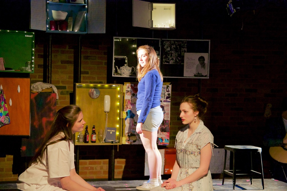 Ingrid ( Caroline Rouse ) and Claire ( Lucy Fleming ) [ foreground ]; Astrid ( Sarah Chapin ) [ background ].