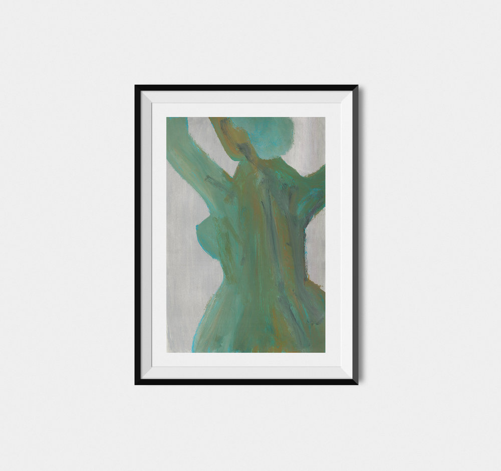 Green Woman - Acrylic Painting