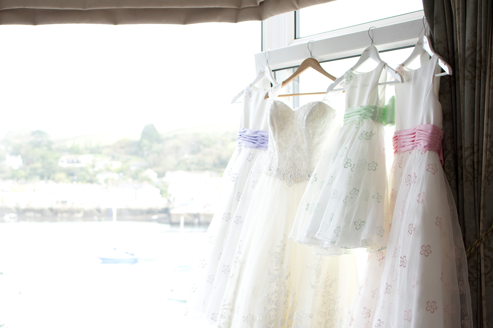 pastel coloured bridesmaids dresses at The GreenBank Hotel Falmouth