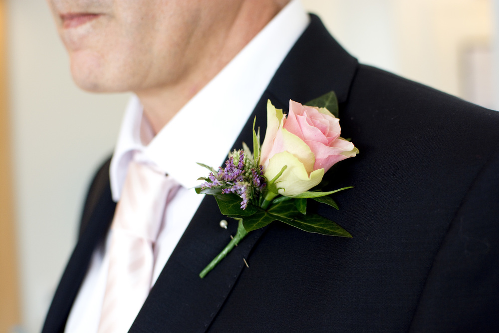 pink rose buttonhole at The GreenBank Hotel Falmouth