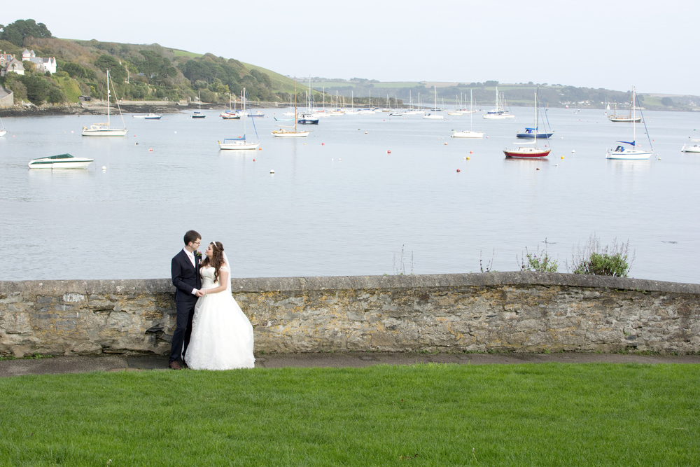 bride and groom at the harbour at The GreenBank Hotel Falmouth