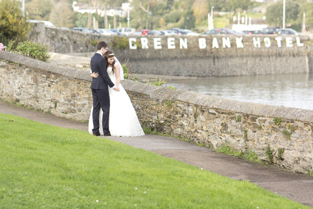 bride and groom at The GreenBank Hotel Falmouth