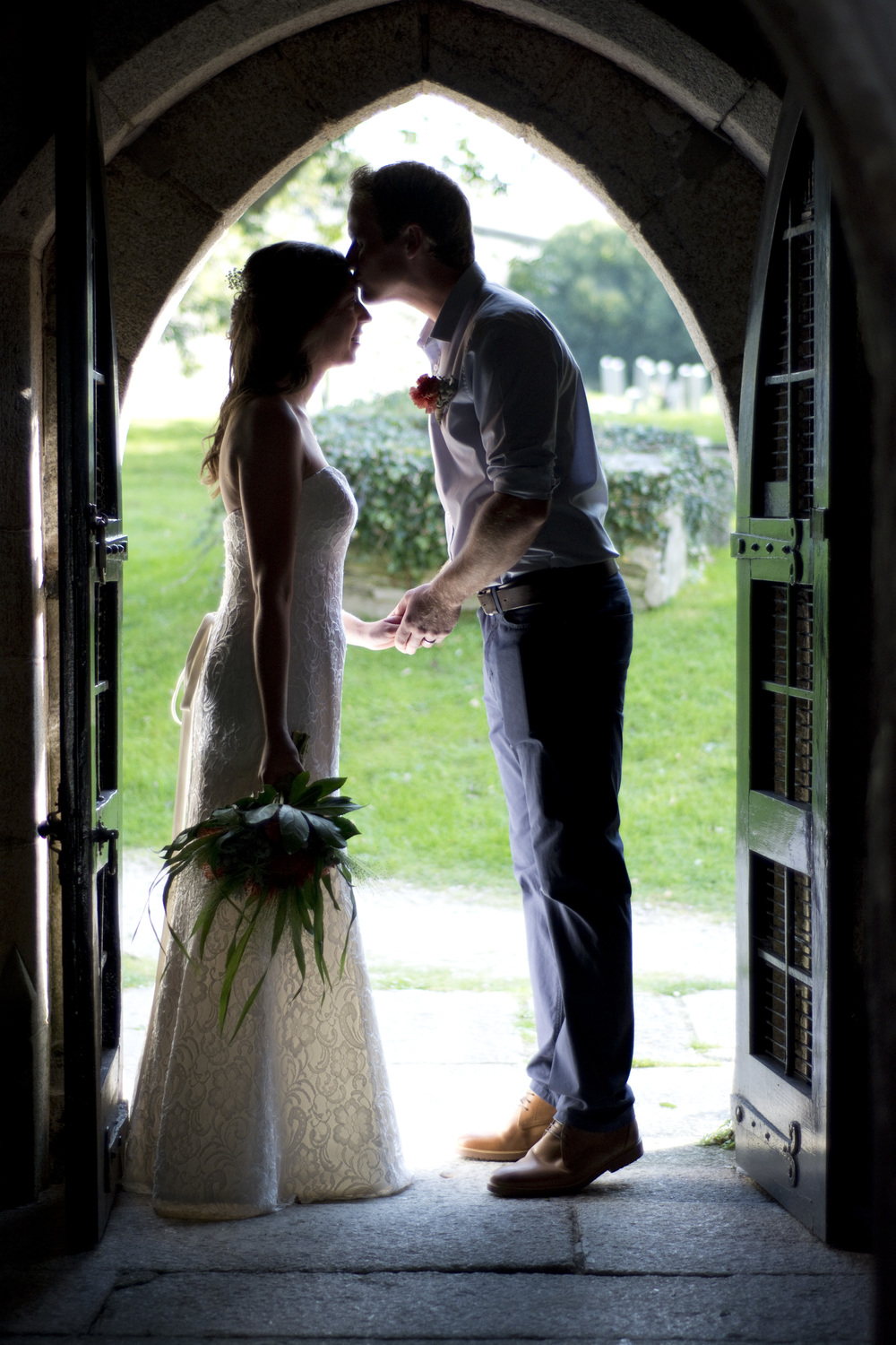 A moment together in the church doorway