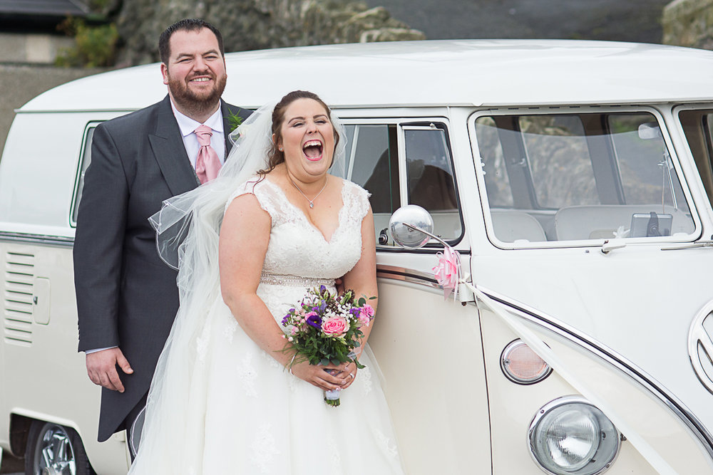 funny moments with the bride and groom and campervan at porthleven harbour