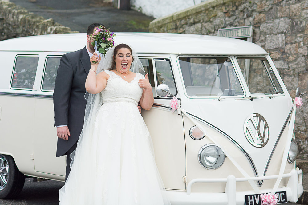 bride and groom bouquet campervan porthleven harbour