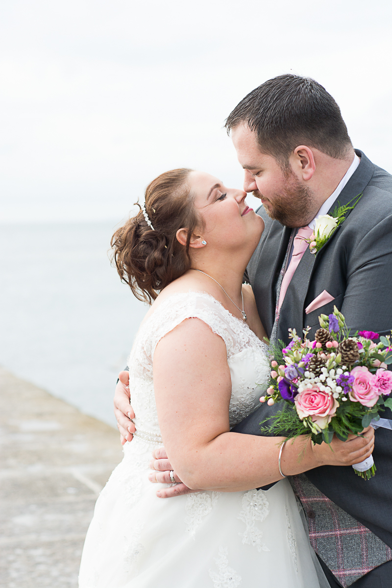 romantic wedding photography on porthleven peir