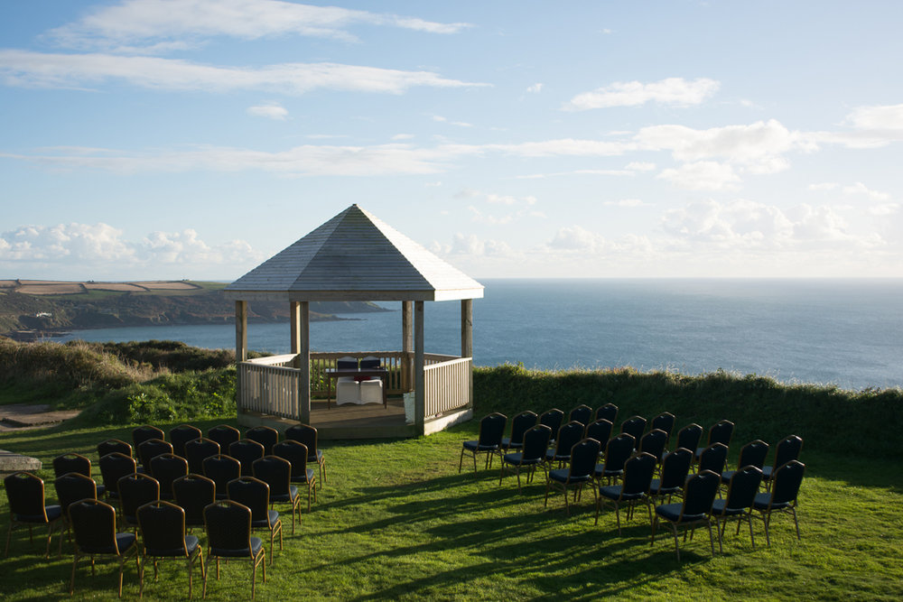 Clifftop wedding ceremony cornwall