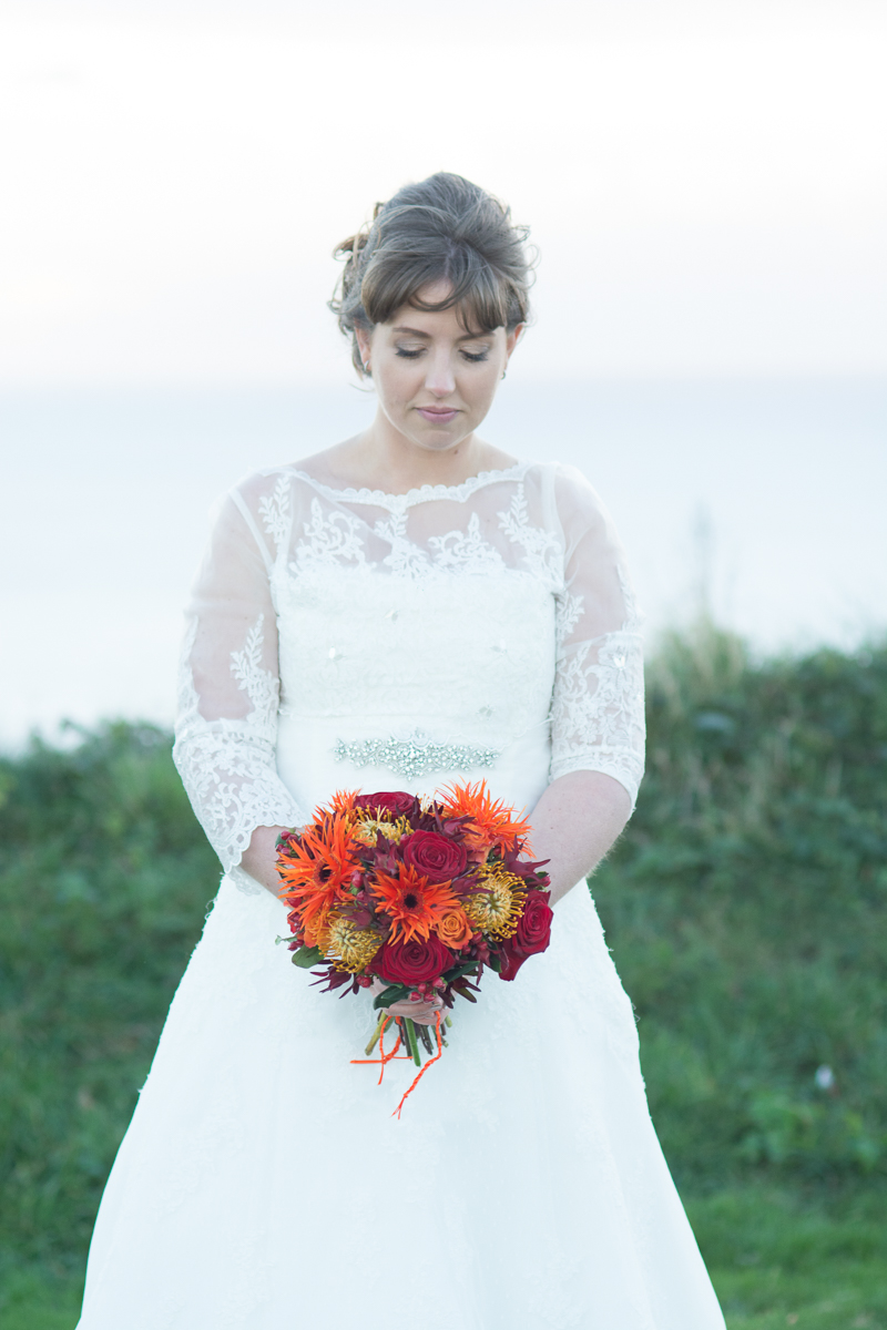 beautiful bride Caroline at whitsand bay