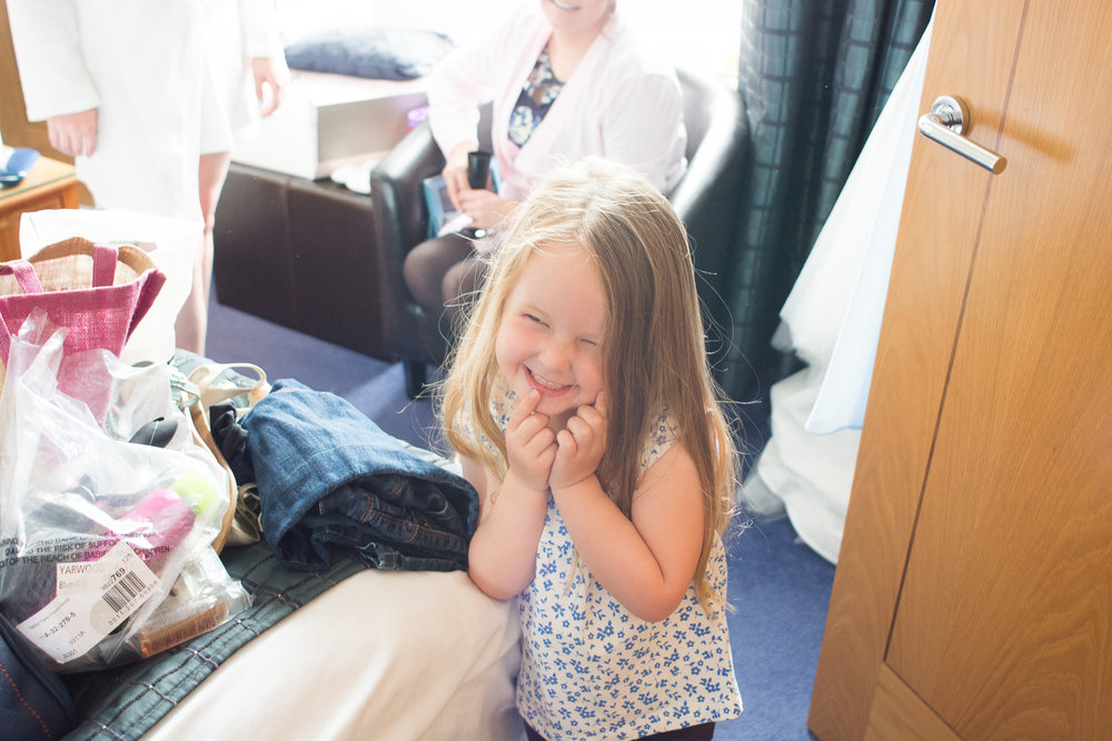 Flowergirl pulling the cutest face at the atlantic hotel newquay