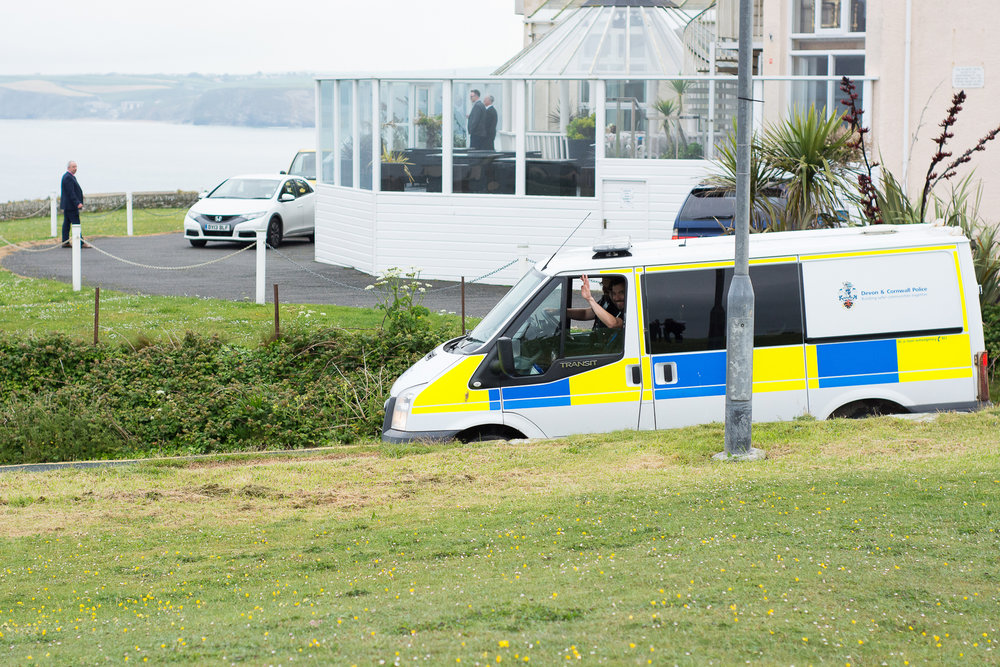 The police congratulate the newlyweds at the Atlantic Hotel in Newquay