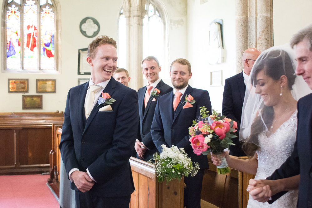 the grooms reaction to his bride at st mary's church plympton plymouth