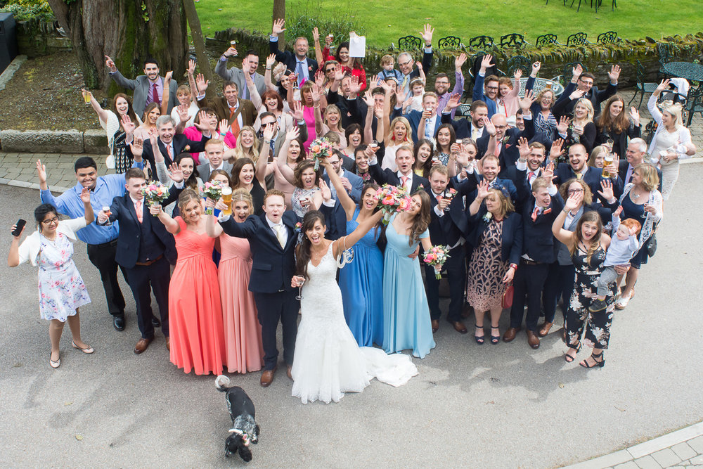 big group photo at boringdon hall plymouth wedding