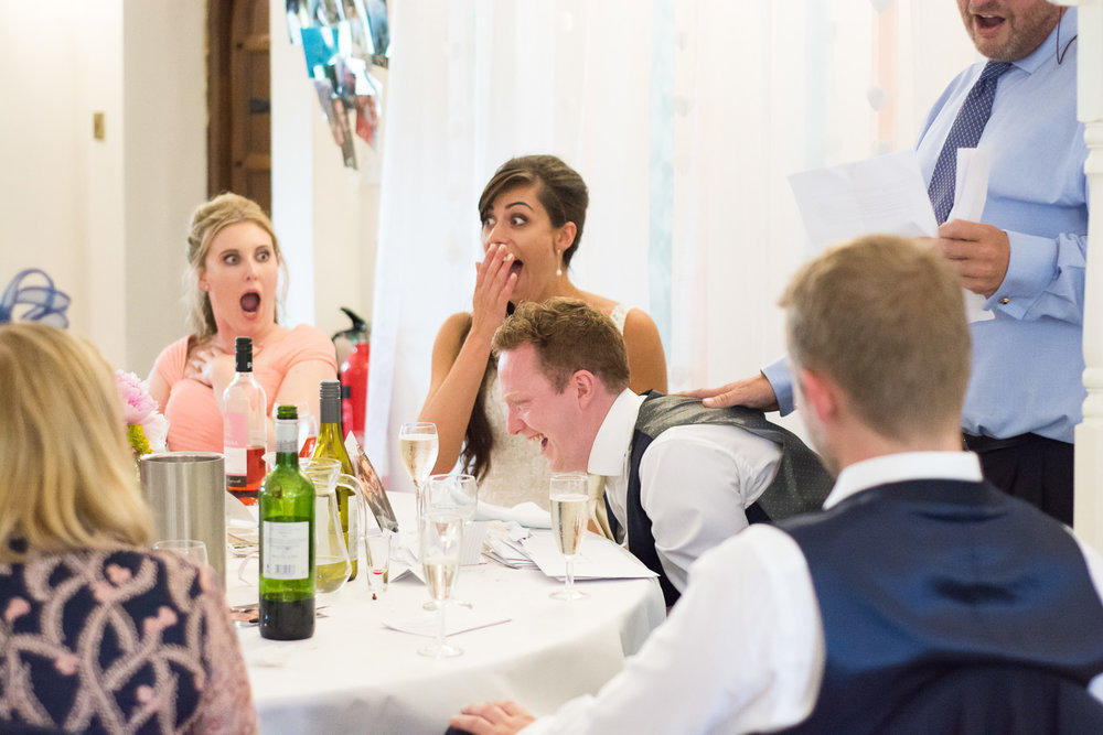 shocked faces during speech at Boringdon Hall wedding