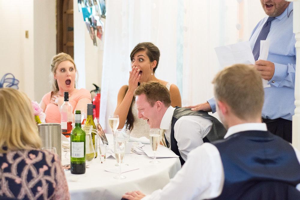 shocked faces during speech at Boringdon Hall wedding