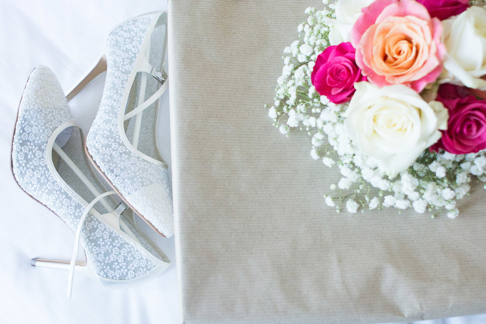 The Bride's shoes and bouquet at the Headland Hotel Torquay